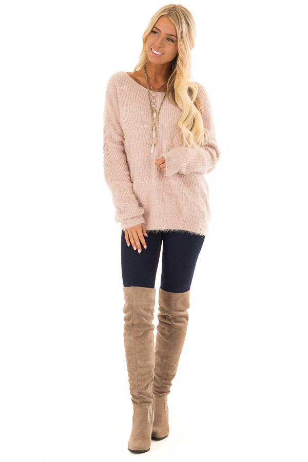 Dusty Pink Knit Sweater with Open Cross Back front full body