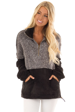 Black and Heather Grey Color Block Pullover Zip Front Jacket front close up