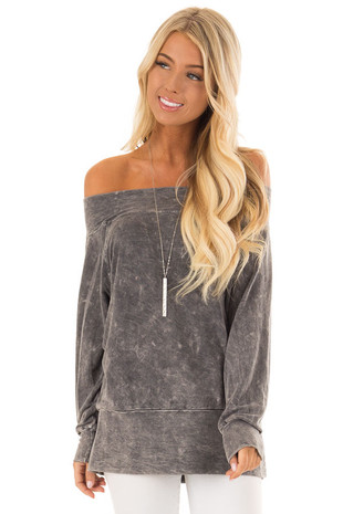 Charcoal Off the Shoulder Boat Neck Knit Top front close up
