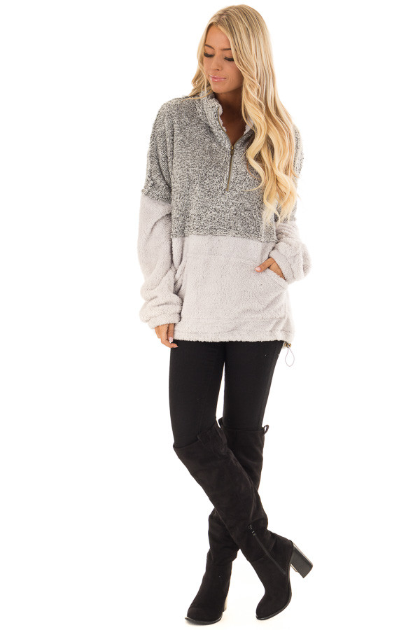 Heather Grey Color Block Pullover Zip Front Jacket front full body