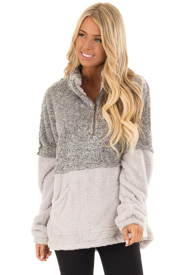 Heather Grey Color Block Pullover Zip Front Jacket front close up