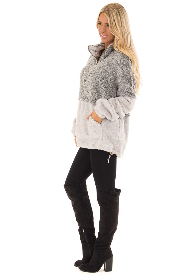 Heather Grey Color Block Pullover Zip Front Jacket side full body