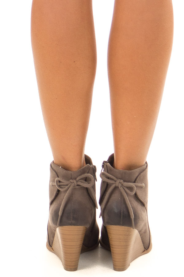 Dark Taupe Ombre Tip Wedge Booties with Shoelace Tie on Back back view
