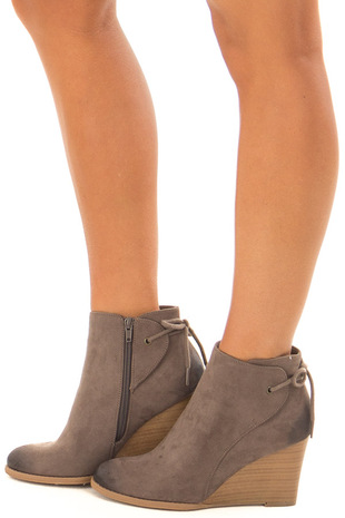 Dark Taupe Ombre Tip Wedge Booties with Shoelace Tie on Back side view