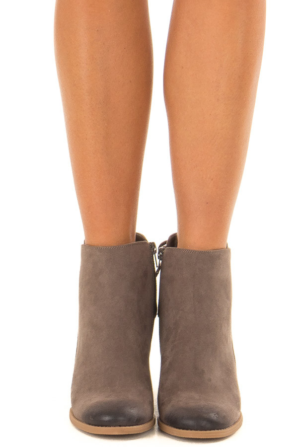 Dark Taupe Ombre Tip Wedge Booties with Shoelace Tie on Back front view
