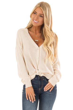 Cream Long Sleeve Button Down Cardigan with V Neckline front close up