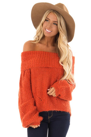 Rust Off the Shoulder Sweater front close up