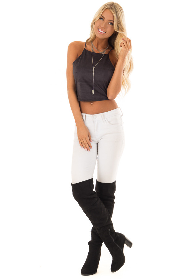 Black Faux Suede Halter Crop Top front full body