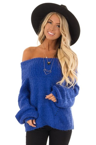 Royal Blue Off the Shoulder Sweater front close up