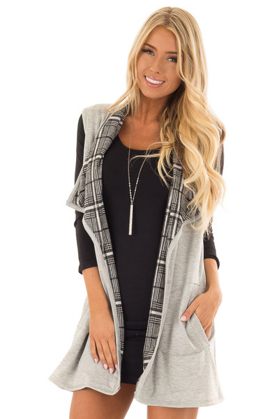 Heather Grey Comfy Vest with Side Pockets front close up