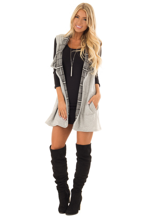 Heather Grey Comfy Vest with Side Pockets front full body