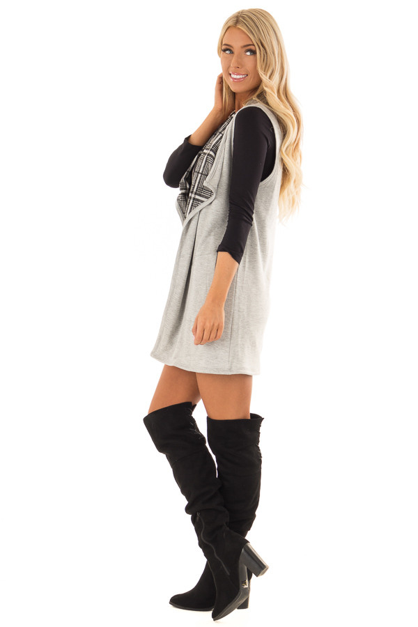 Heather Grey Comfy Vest with Side Pockets side full body