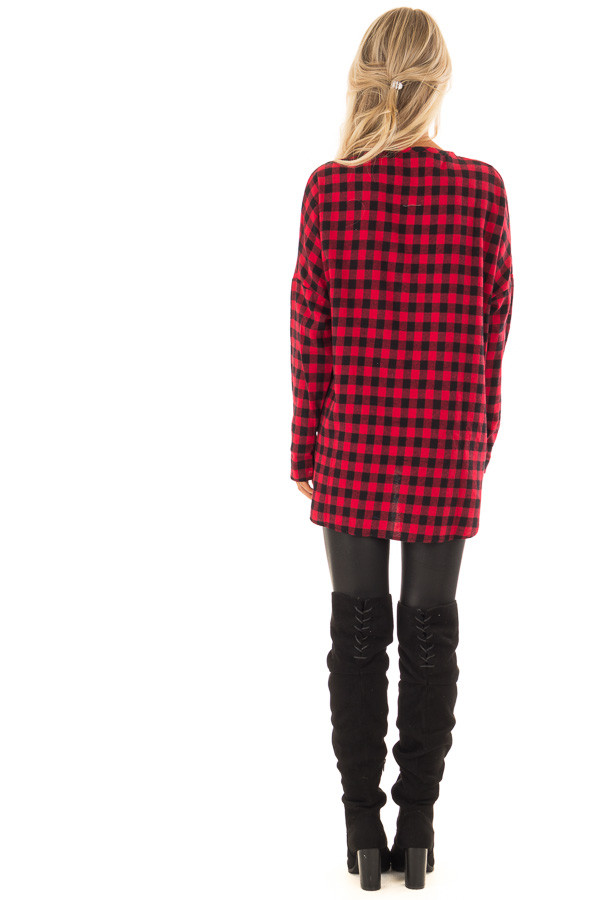 Candy Red and Black Plaid Button up Top back full body