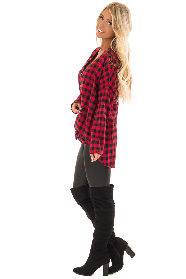 Candy Red and Black Plaid Button up Top side full body