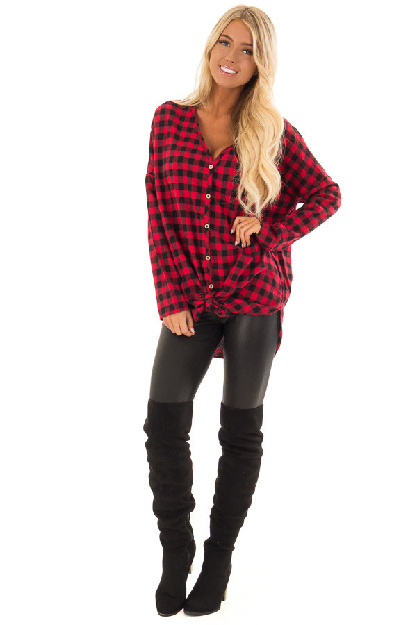 Candy Red and Black Plaid Button up Top front full body