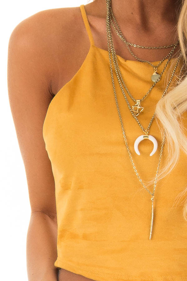 Mustard Faux Suede Halter Crop Top detail