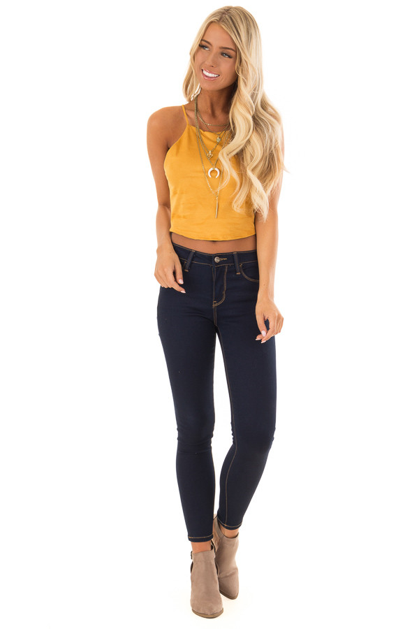 Mustard Faux Suede Halter Crop Top front full body