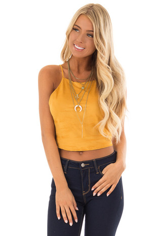 Mustard Faux Suede Halter Crop Top front close up