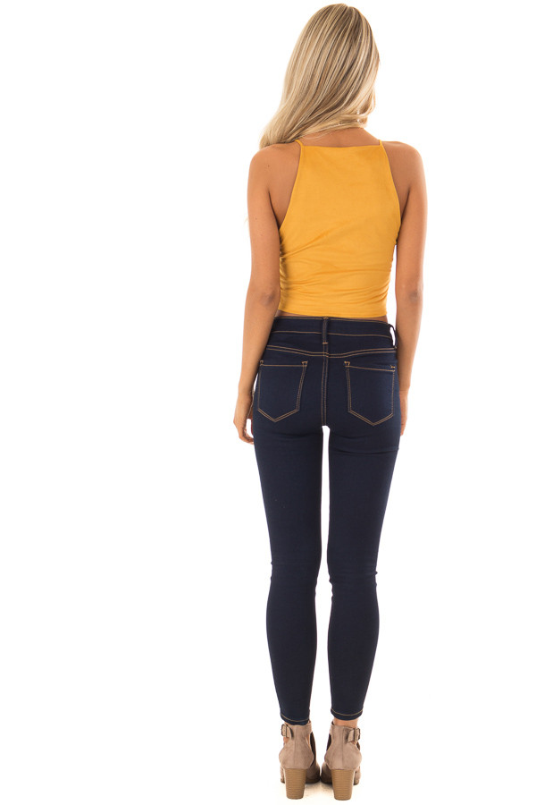 Mustard Faux Suede Halter Crop Top back full body