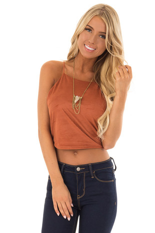 Rust Faux Suede Halter Crop Top front close up