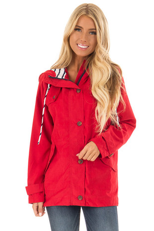 Candy Red Lightweight Jacket with Navy Striped Contrast front close up