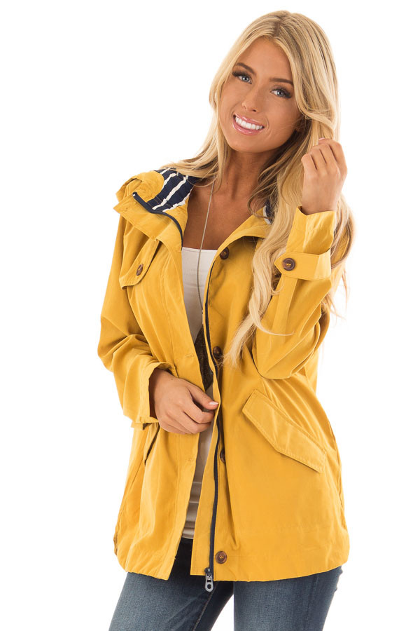 Mustard Lightweight Jacket with Navy Striped Contrast front close up