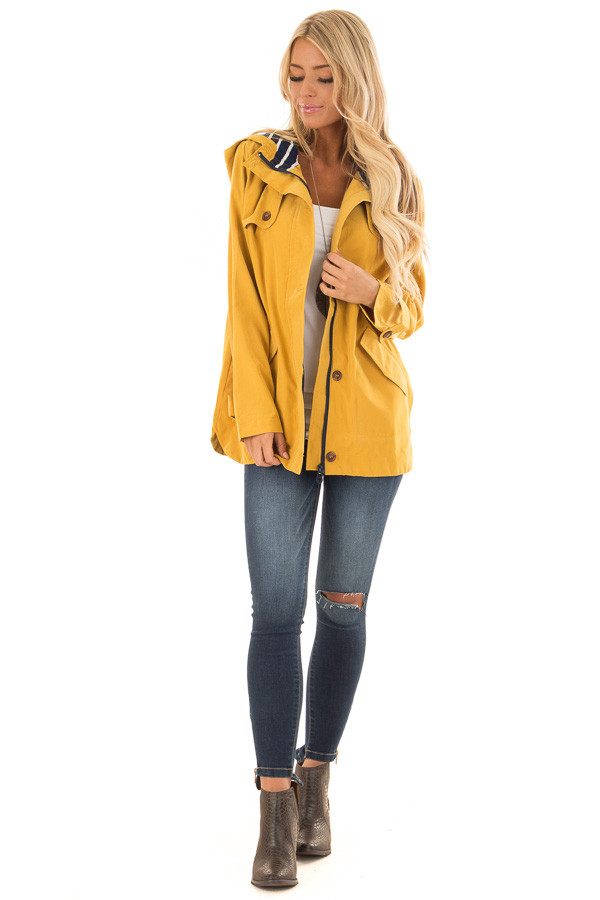 Mustard Lightweight Jacket with Navy Striped Contrast front full body