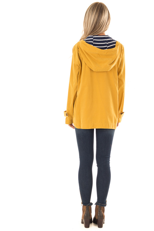 Mustard Lightweight Jacket with Navy Striped Contrast back full body