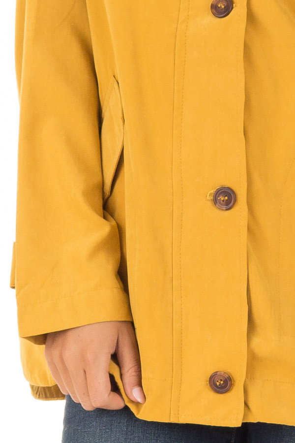Mustard Lightweight Jacket with Navy Striped Contrast detail