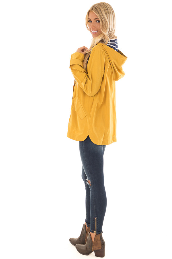 Mustard Lightweight Jacket with Navy Striped Contrast side full body