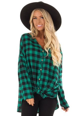 Jade Green and Black Plaid Button up Top front close up