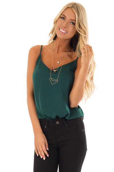 Hunter Green Satin Sleeveless Bodysuit front close up
