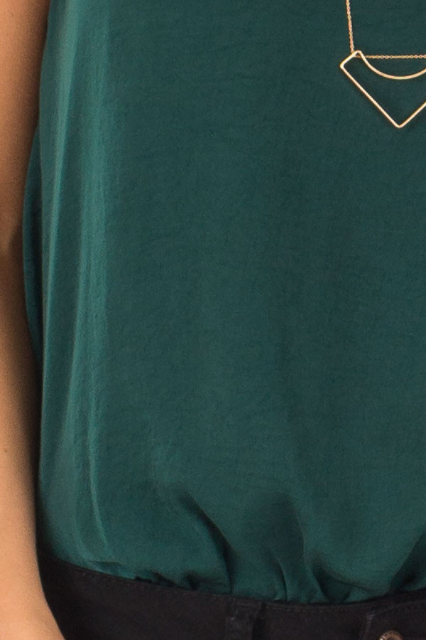 Hunter Green Satin Sleeveless Bodysuit detail