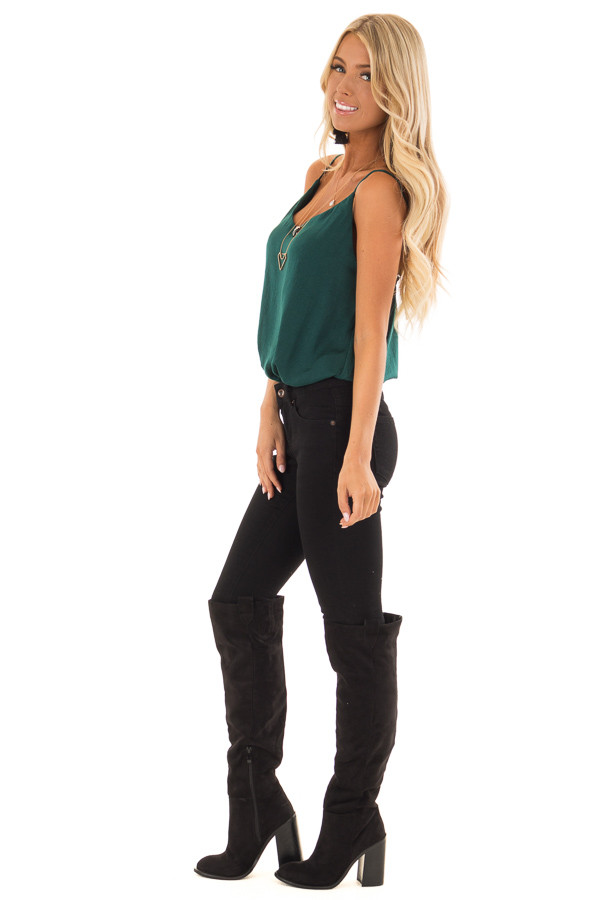 Hunter Green Satin Sleeveless Bodysuit side full body