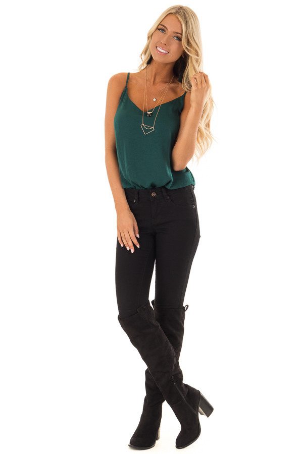 Hunter Green Satin Sleeveless Bodysuit front full body