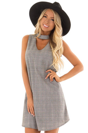 Black and Burgundy Plaid V Neck Dress with Choker front close up