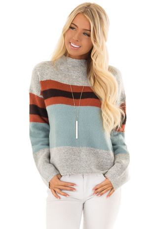 Heather Grey Cyan and Ginger Color Block Sweater front close up
