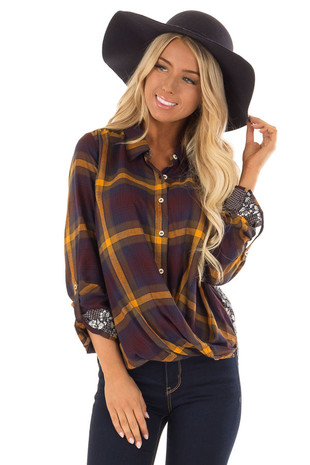 Mustard Plaid Button Up Twist Top with Floral Contrast front close up