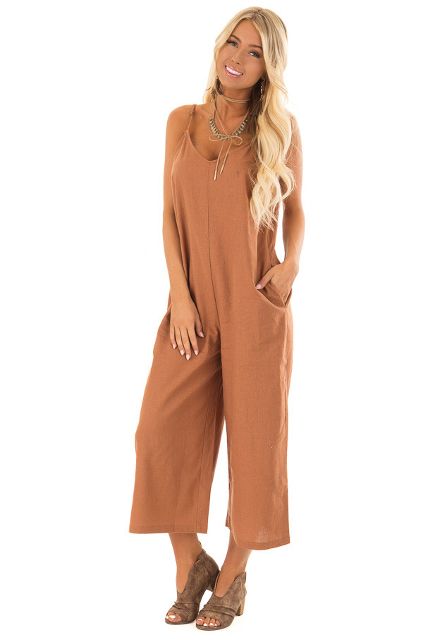 Gingerbread Brown Wide Leg Jumpsuit with Pockets front full body