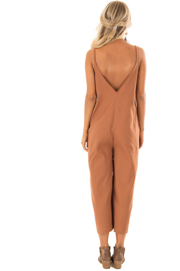 Gingerbread Brown Wide Leg Jumpsuit with Pockets back full body