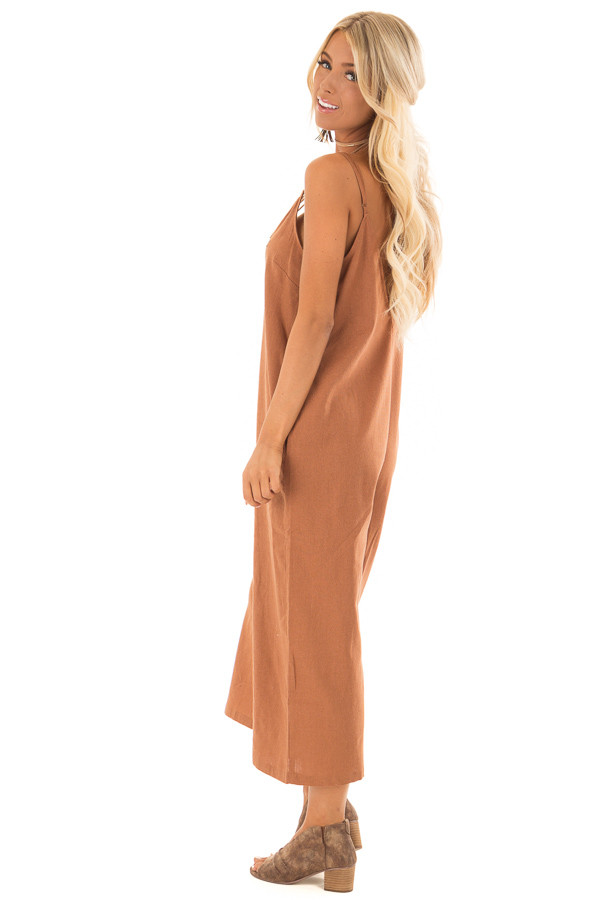 Gingerbread Brown Wide Leg Jumpsuit with Pockets side full body