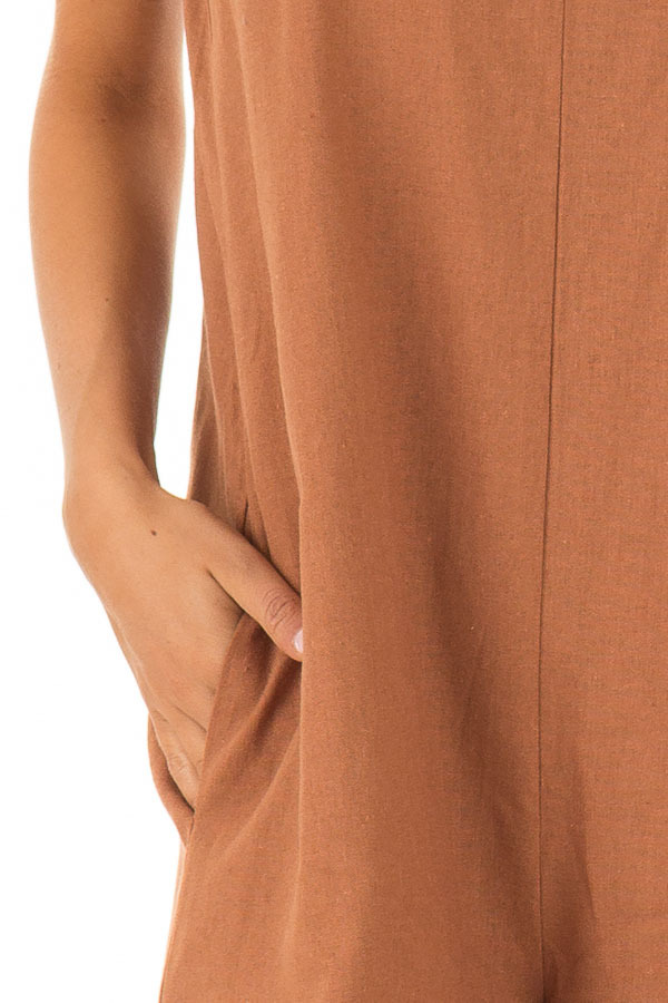 Gingerbread Brown Wide Leg Jumpsuit with Pockets detail