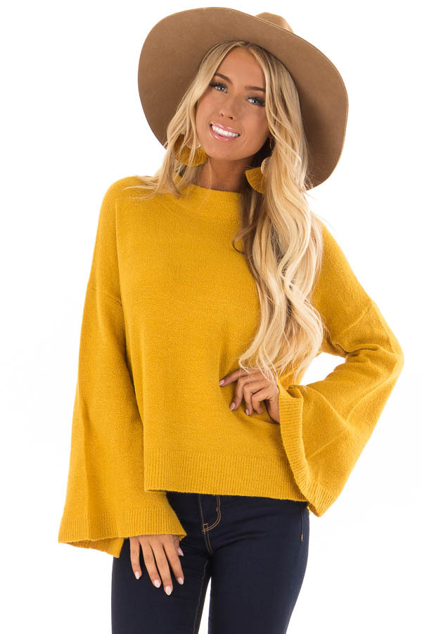 Mustard Long Sleeve Mock Neck Sweater with Bell Sleeves front close up
