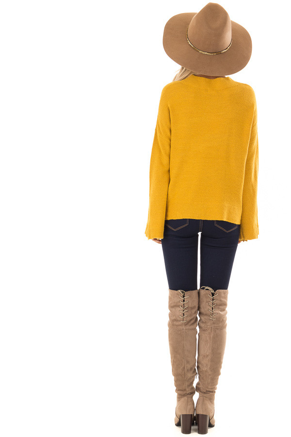 Mustard Long Sleeve Mock Neck Sweater with Bell Sleeves back full body