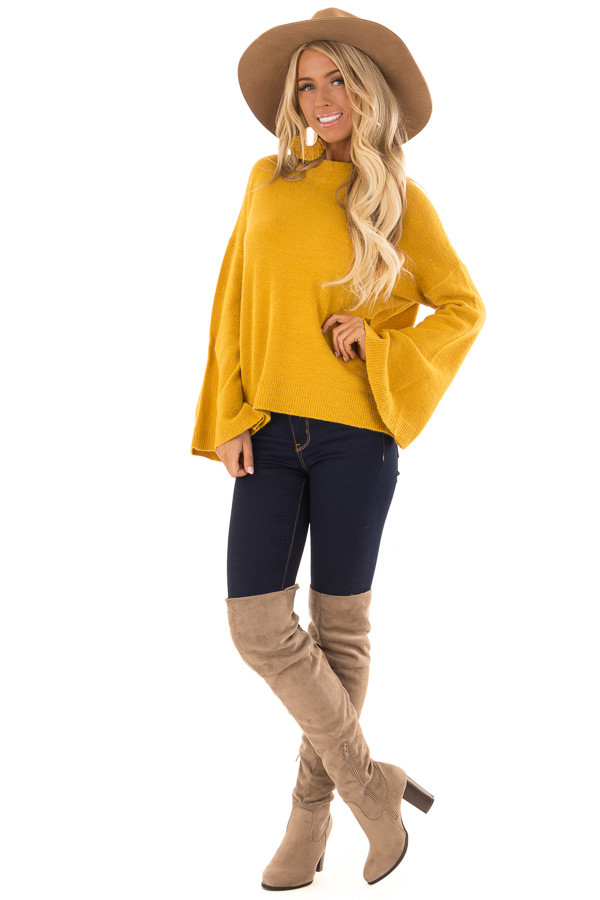 Mustard Long Sleeve Mock Neck Sweater with Bell Sleeves front full body