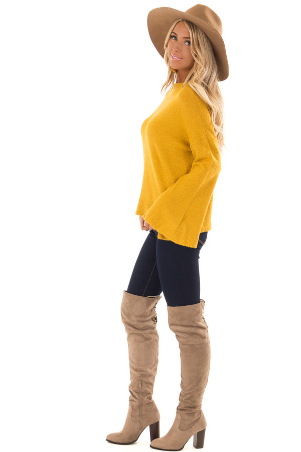 Mustard Long Sleeve Mock Neck Sweater with Bell Sleeves side full body