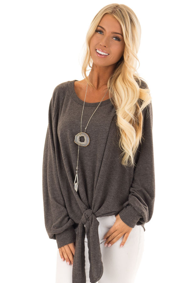 Charcoal Long SleeveCharcoal Long Sleeve Top with Front Tie Detail front full body