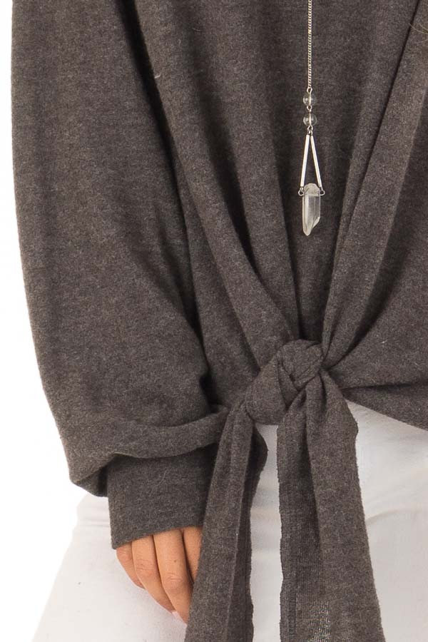 Charcoal Long Sleeve Top with Front Tie Detail detail