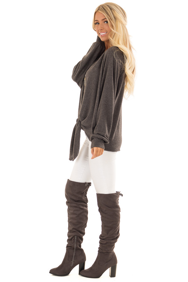 Charcoal Long Sleeve Top with Front Tie Detail side full body