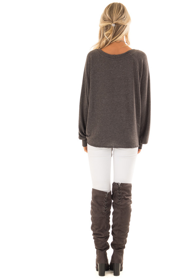 Charcoal Long Sleeve Top with Front Tie Detail back full body